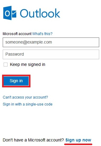 Hotmail login english